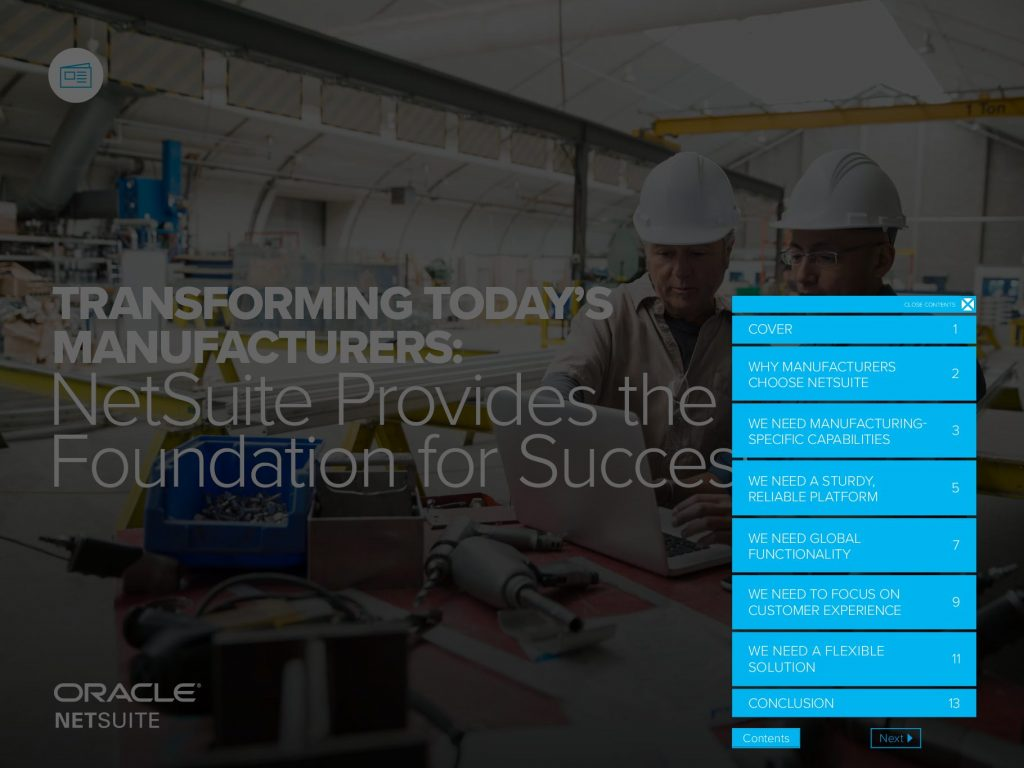 Transforming Today's Manufacturers: NetSuite Provides The Foundation For Success