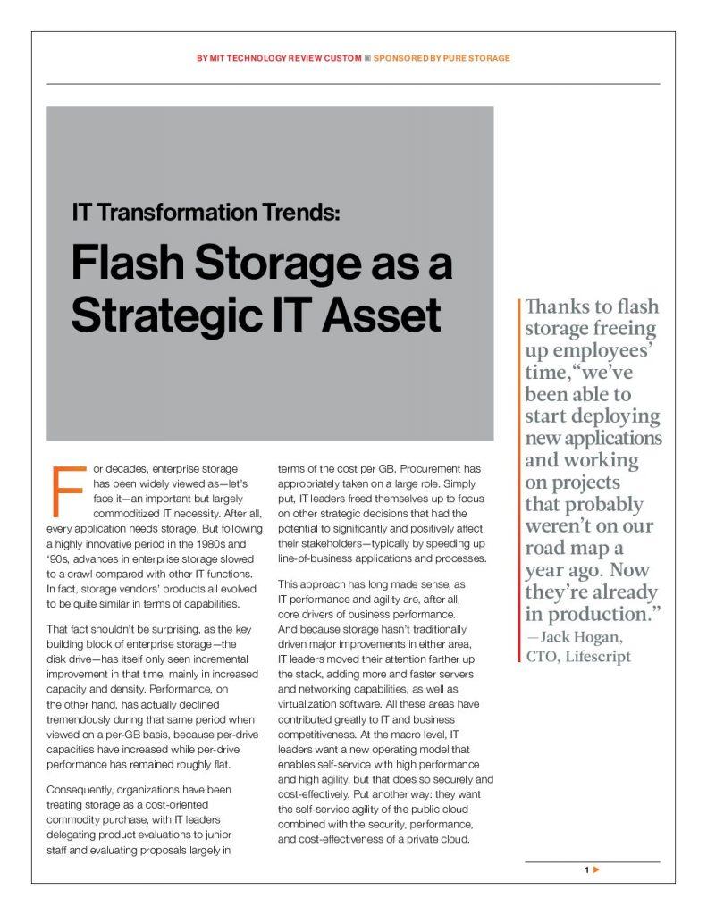 IT Transformation Trends: Flash Storage as a Strategic IT Asset