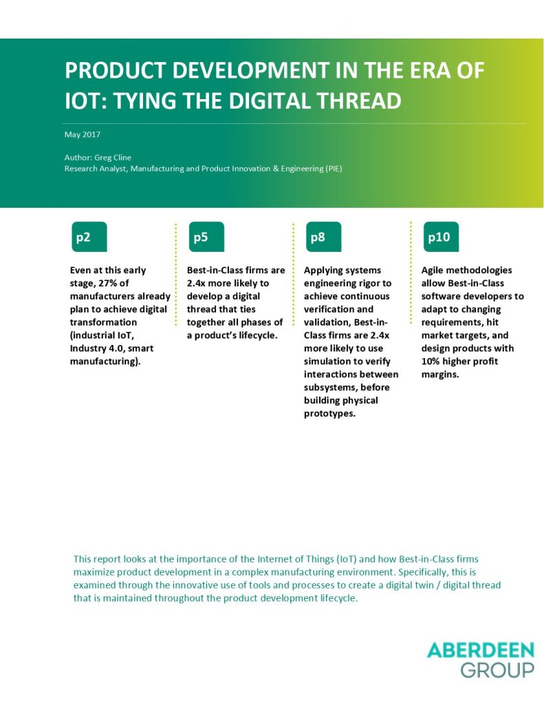 Aberdeen Research Report: Product development in the era of IoT: Tying the digital thread