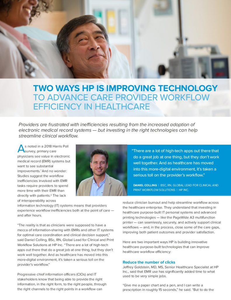 Two Ways HP is Improving Technology to Advance Care Provider Workflow Efficiency in Healthcare