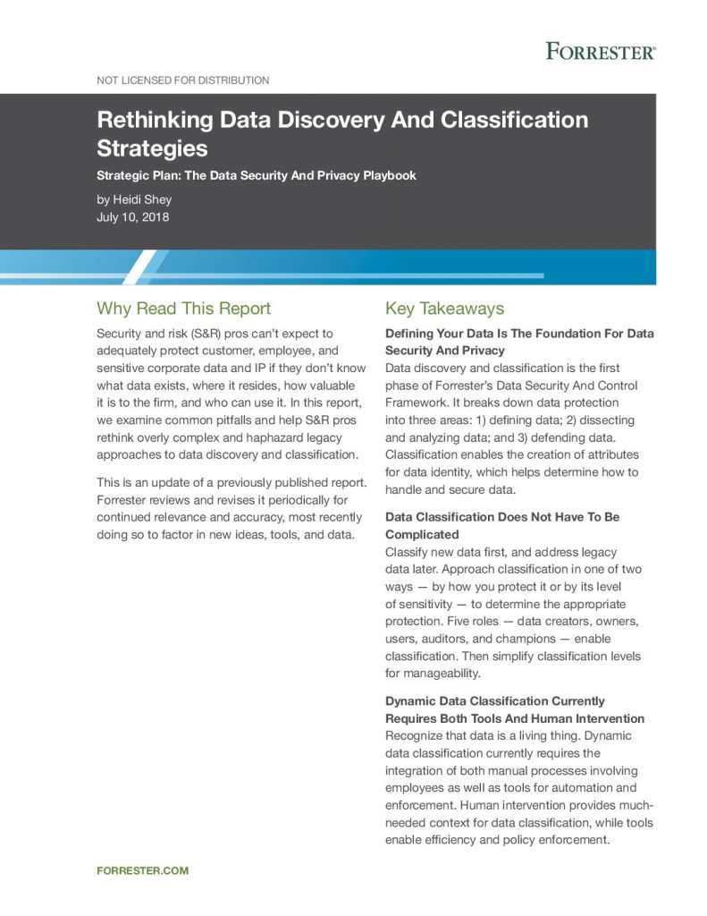 Forrester Report: Rethinking Data Discovery & Classification Strategies