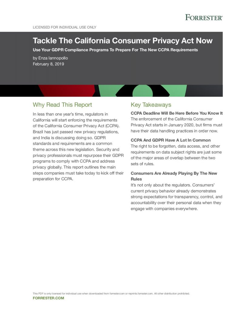 Forrester Report: Tackle The California Consumer Privacy Act Now