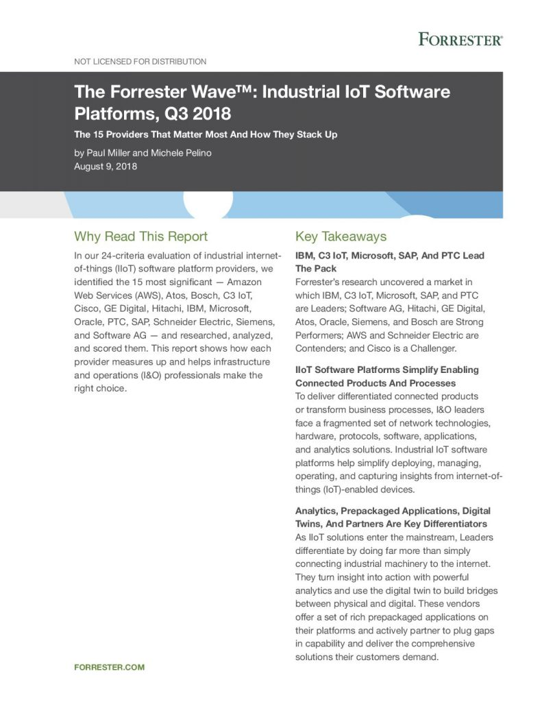IBM Leader in Forrester Wave Industrial IoT Software Platforms, Q3 2018