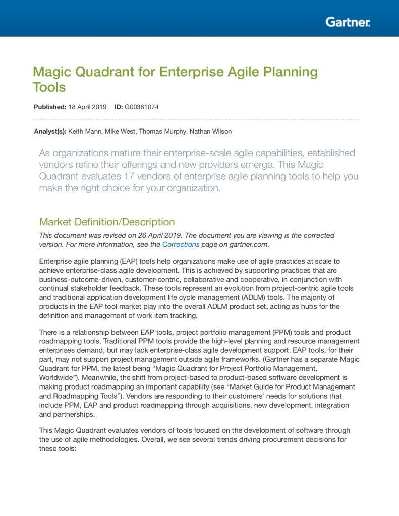 Magic Quadrant for Enterprise Agile Planning Tools