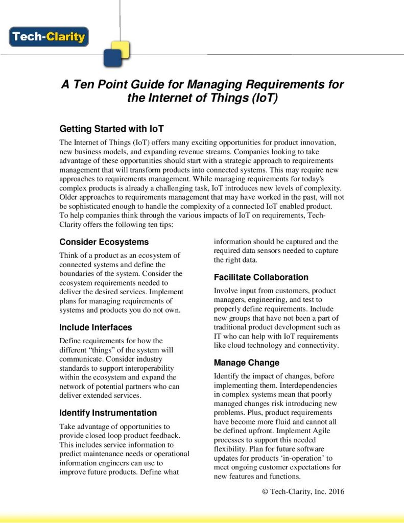 10 point guide on Requirements Management in IoT from Tech-Clarity