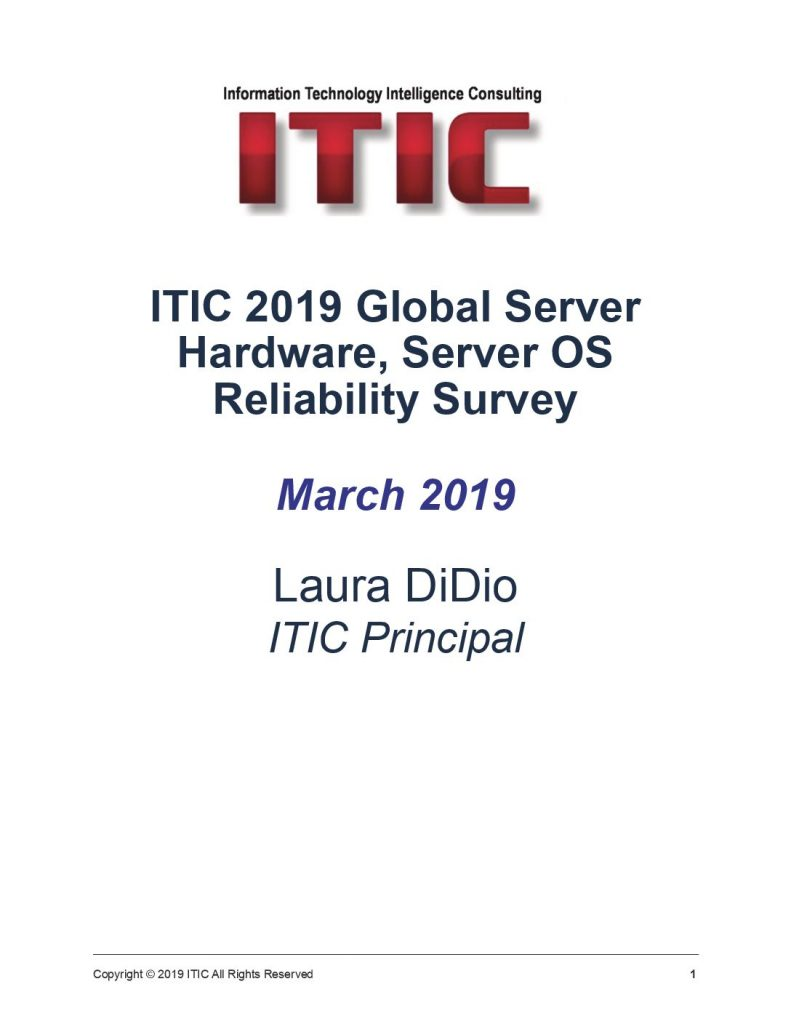 ITIC 2019 Global Server Hardware, Server OS Reliability Survey
