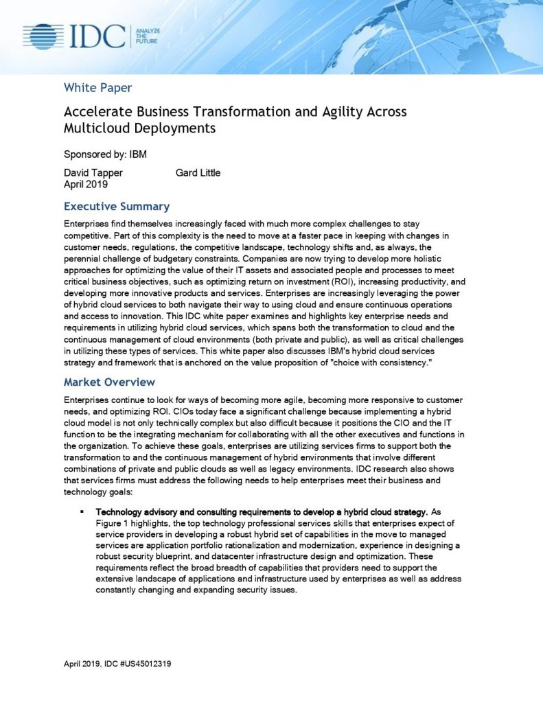 IDC: Accelerate business transformation and agility across multicloud deployments