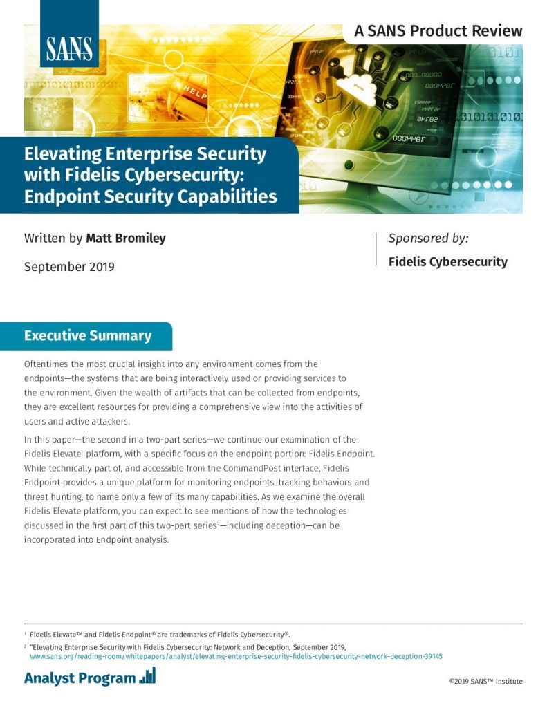 Elevating Enterprise Security with Fidelis Cybersecurity: Endpoint Security Capabilities
