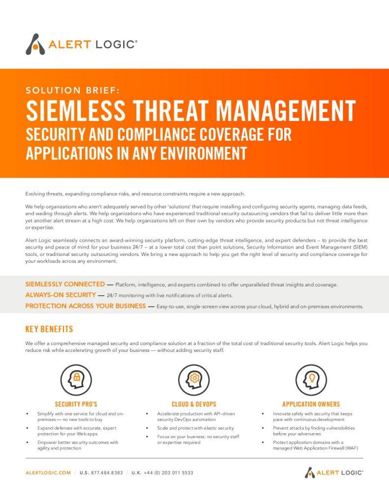 Solution Brief: SIEMLESS Threat Management