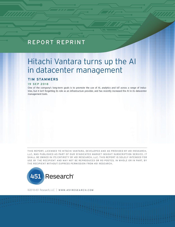 451 Research: Hitachi Vantara Turns Up the AI in Data Center Management