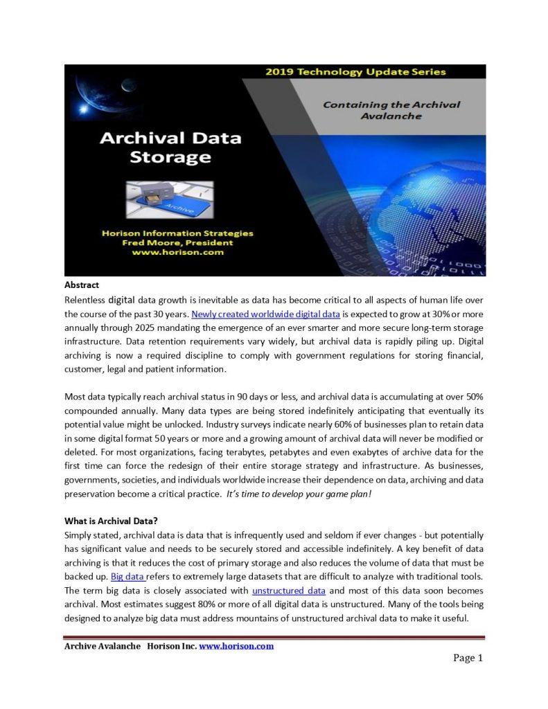 Archival data storage