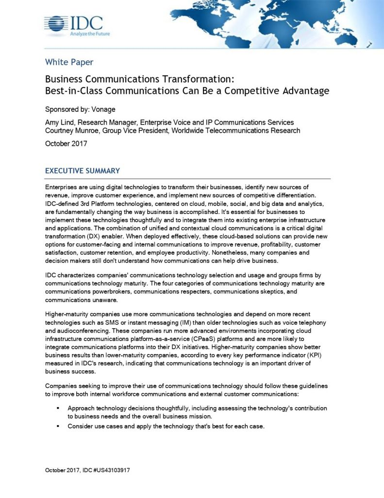 Business Communications Transformation: Best-in-Class Communications Can Be a Competitive Advantage