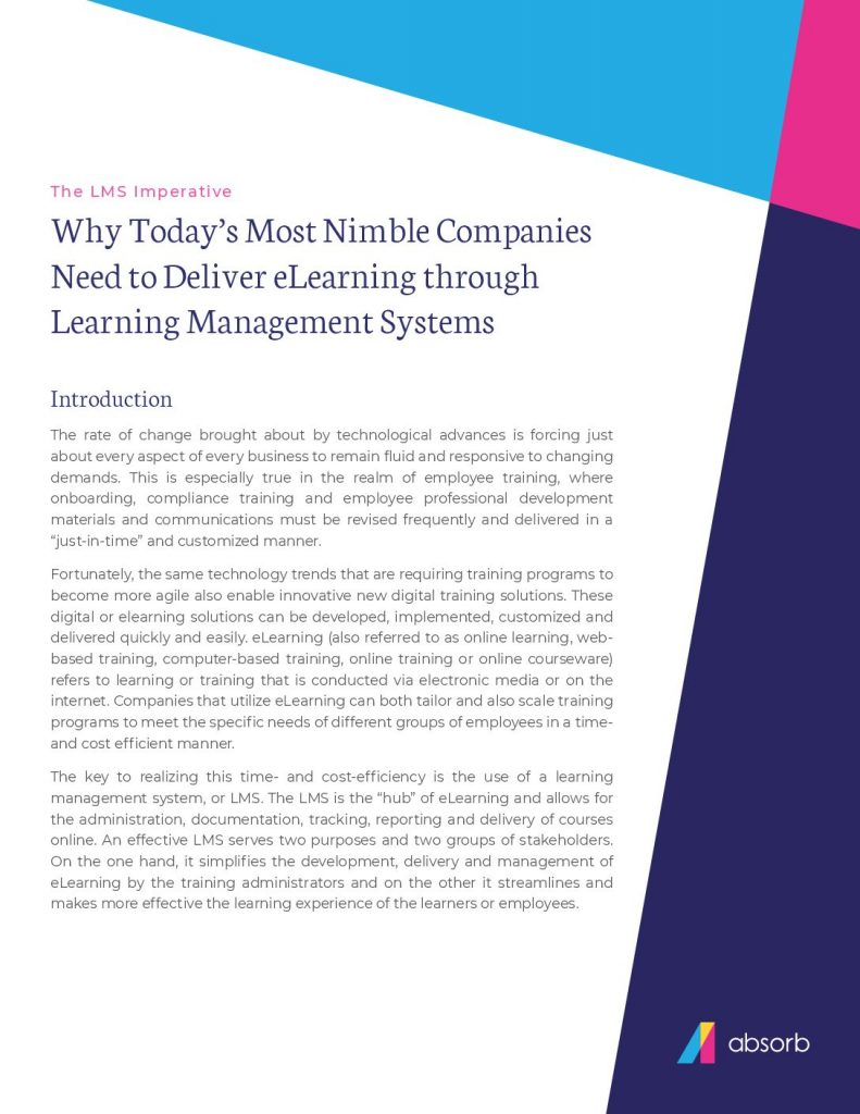 Why Today's Most Nimble Companies Need to Deliver eLearning through Learning Management Systems