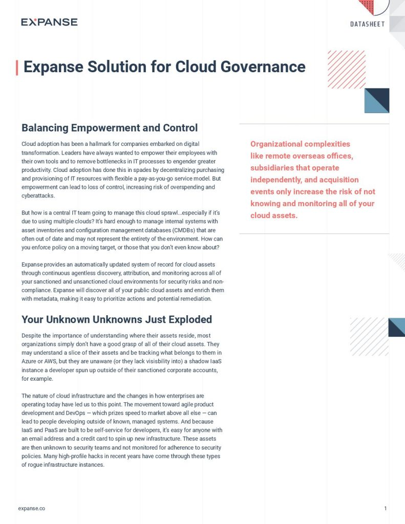 Expanse Solution for Cloud Governance